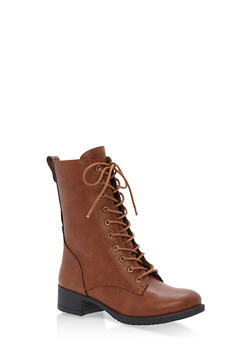 Lace Up Combat Boots - CHESTNUT - 1116004063473