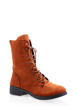 Lace Up Combat Boots - CHAMOIS - 1116004063473