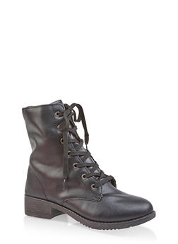 Side Zip Combat Boots - BLACK - 1116004063474