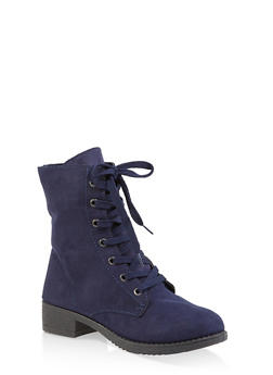 Side Zip Combat Boots - NAVY - 1116004063474