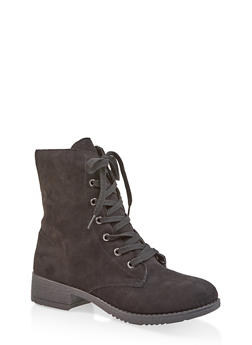 Side Zip Combat Boots - BLACK SUEDE - 1116004063474