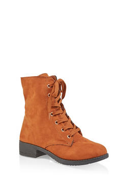 Side Zip Combat Boots - CHESTNUT - 1116004063474