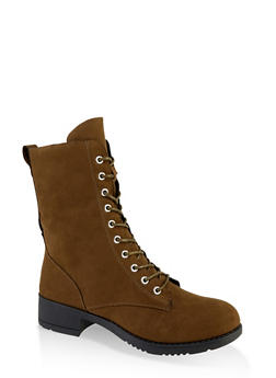 Lace Up Combat Boots | 1116004063475 - OLIVE - 1116004063475