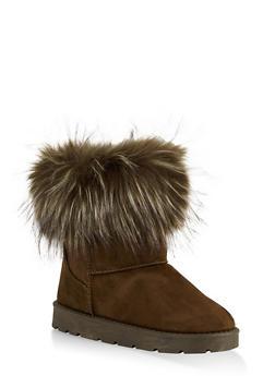 Faux Fur Cuff Boots | 1116004063769 - OLIVE - 1116004063769
