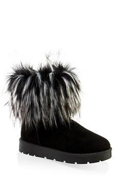 Faux Fur Cuff Boots | 1116004063769 - BLACK SUEDE - 1116004063769