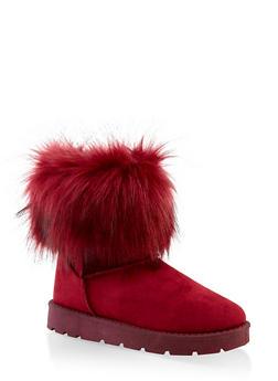 Faux Fur Cuff Boots | 1116004063769 - BURGUNDY - 1116004063769