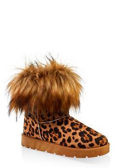 Faux Fur Cuff Boots | 1116004063769 - LEOPARD PRINT - 1116004063769