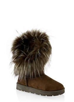 Asymmetrical Faux Fur Lined Boots - OLIVE - 1116004063770