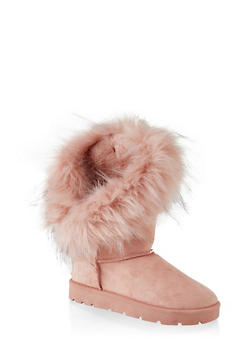Asymmetrical Faux Fur Lined Boots - PINK - 1116004063770
