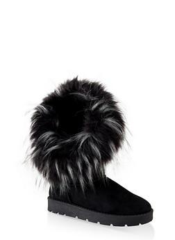 Asymmetrical Faux Fur Lined Boots - BLACK SUEDE - 1116004063770