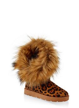 Asymmetrical Faux Fur Lined Boots - LEOPARD PRINT - 1116004063770