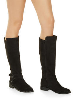 Studded Faux Suede Riding Boots - BLACK SUEDE - 1116004063777