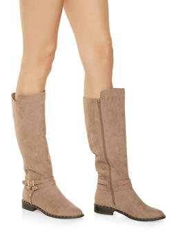 Studded Faux Suede Riding Boots - TAUPE - 1116004063777