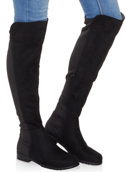 Over the Knee Neoprene Insert Boots - BLACK SUEDE - 1116004064268