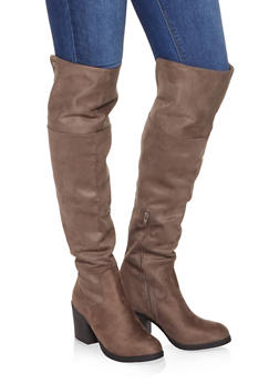 Mid Heel Over the Knee Boots - TAUPE - 1116004064287