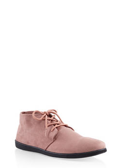 Lace Up Ankle Booties - BLUSH - 1116004066292