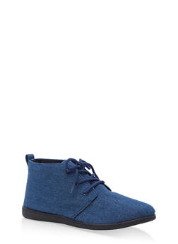 Lace Up Ankle Booties - BLUE DENIM - 1116004066292