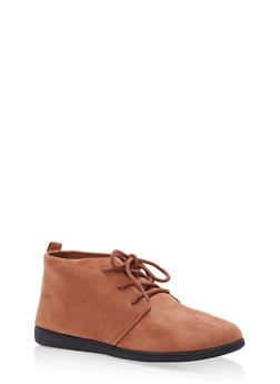 Lace Up Ankle Booties - MOCHA - 1116004066292