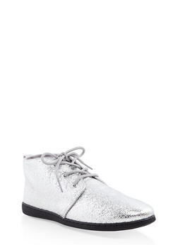Metallic Lace Up Desert Booties - SILVER - 1116004066294