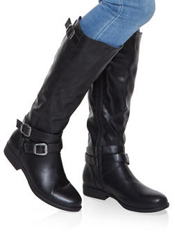 Buckle Strap Riding Boots - BLACK - 1116004066674