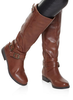 Buckle Strap Riding Boots - CHESTNUT - 1116004066674