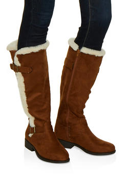 Faux Fur Trim Boots - 1116004066698