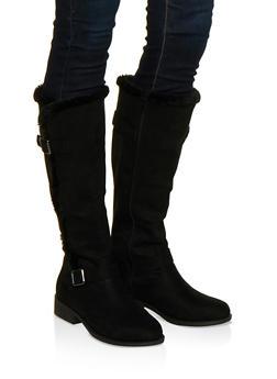 Faux Fur Trim Boots - BLACK SUEDE - 1116004066698