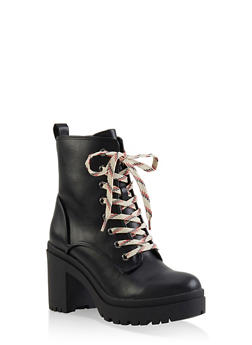 Lace Up Platform Booties - 1116004067342