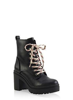 Lace Up Platform Booties - 1116004067342