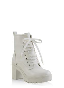 Lace Up Platform Booties - WHITE - 1116004067342