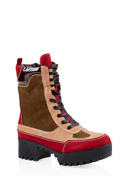 Lace Up Platform Combat Boots - WINE - 1116004067637