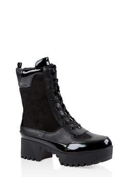Lace Up Platform Combat Boots - BLACK SUEDE - 1116004067637