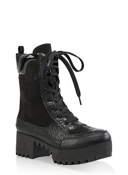 Lace Up Platform Booties - 1116004067641