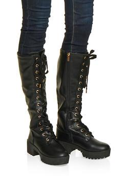 Lace Up Platform Boots - BLACK - 1116004067644