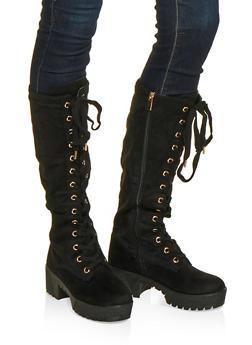 Lace Up Platform Boots - BLACK SUEDE - 1116004067644