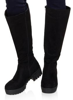 Tall Platform Boots - BLACK SUEDE - 1116004067645