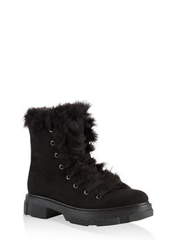 Faux Fur Trim Hiking Boots - 1116004067899
