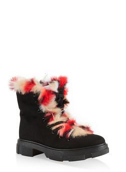 Faux Fur Trim Hiking Boots - BLACK MULTI - 1116004067899