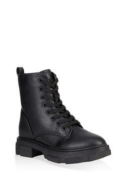 Chunky Platform Combat Boots - BLACK - 1116004067900