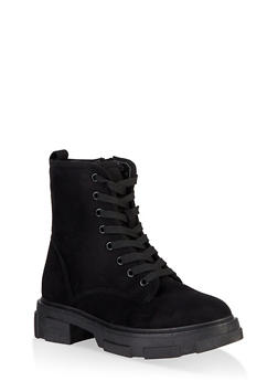 Chunky Platform Combat Boots - BLACK SUEDE - 1116004067900