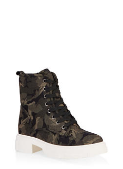 Chunky Platform Combat Boots - CAMOUFLAGE - 1116004067900