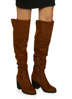 Over the Knee Block Heel Boots - 1116004068430