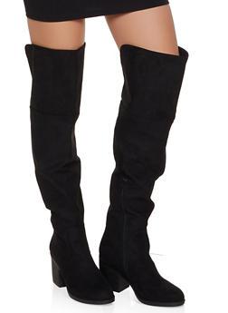 Over the Knee Block Heel Boots - BLACK SUEDE - 1116004068430