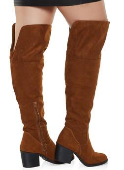 Wide Calf Over the Knee Block Heel Boots - BROWN - 1116004068431