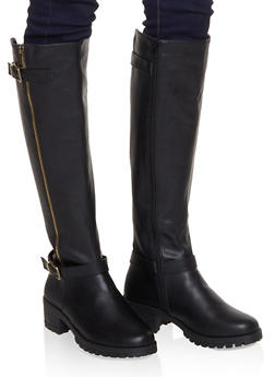 Over the Knee Moto Boots - BLACK - 1116004069363