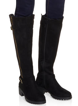 Tall Moto Boots - BLACK SUEDE - 1116004069363