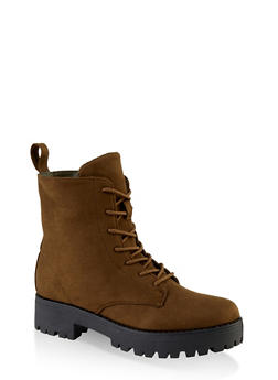 Lace Up Lug Sole Combat Boots - OLIVE - 1116004069454