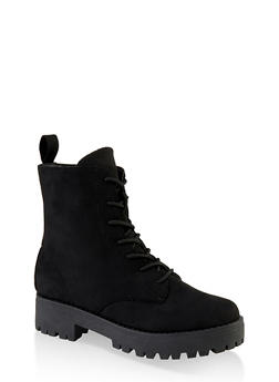 Lace Up Lug Sole Combat Boots - BLACK SUEDE - 1116004069454