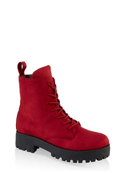 Lace Up Lug Sole Combat Boots - BURGUNDY - 1116004069454