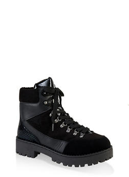 Lace Up Lug Sole Booties - BLACK MULTI - 1116004069455